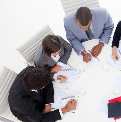 Business consultant consulting clients