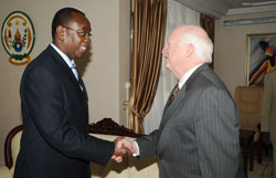 Prime Minister Bernard Makuza receives Dr. Mike Armour at his office in Kigali, Rwanda