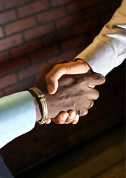 Consultant shaking hands with client