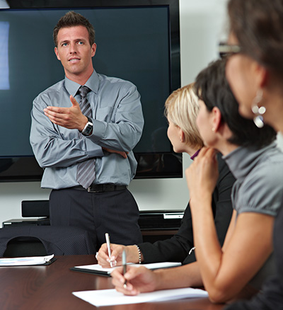 Communication coaches train you to make powerful presentation before small groups